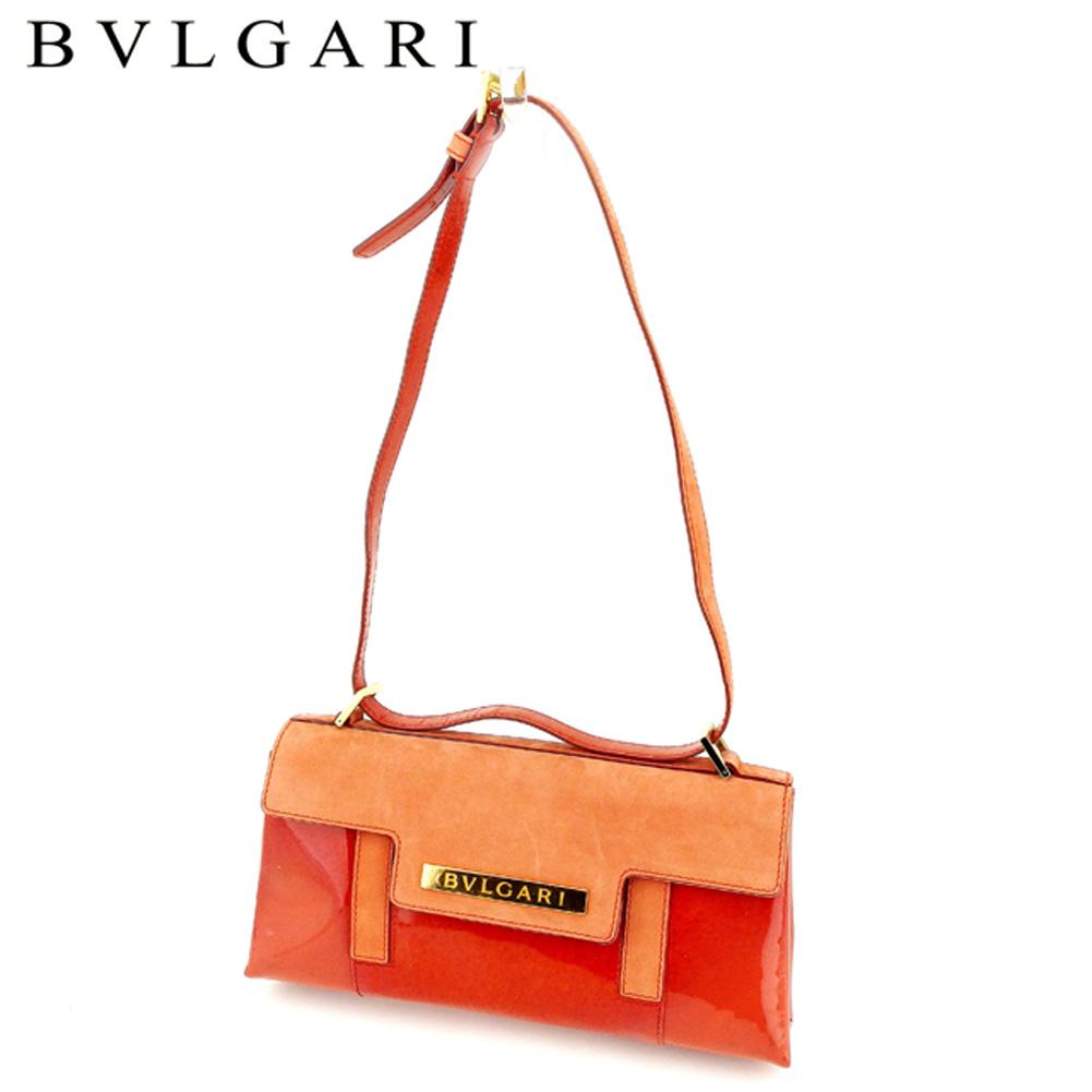 【中古】 ブルガリ BVLGARI ショルダーバッグ ワンショルダー レディース  オレンジ エナメル×レザー 人気 セール A1756