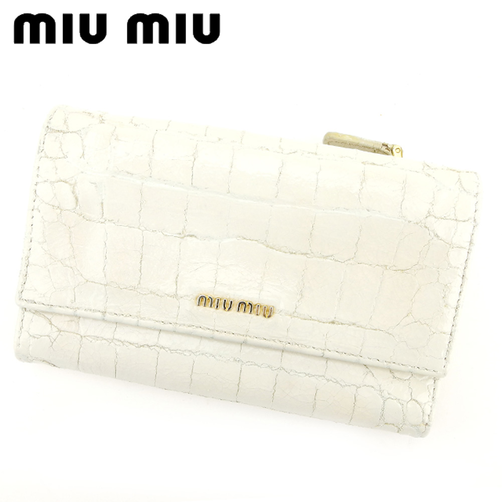 【中古】 ミュウミュウ miu miu 中長財布 三つ折り 財布 レディース クロコダイル型押し ホワイト 白 PVC×レザー 人気 セール C2948