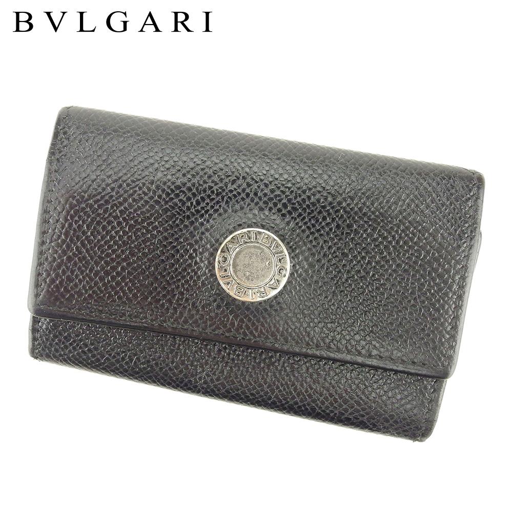 【中古】 ブルガリ BVLGARI キーケース 4連キーケース レディース メンズ ブルガリブルガリ ブラック レザー 人気 セール P827 .