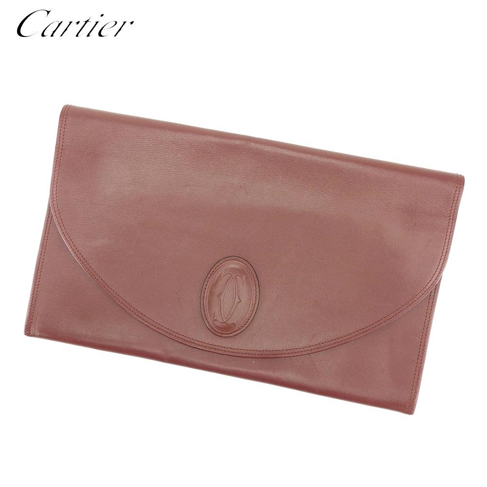 【中古】 カルティエ Cartier クラッチバッグ セカンドバッグ レディース メンズ マストライン ボルドー レザー 人気 セール P835