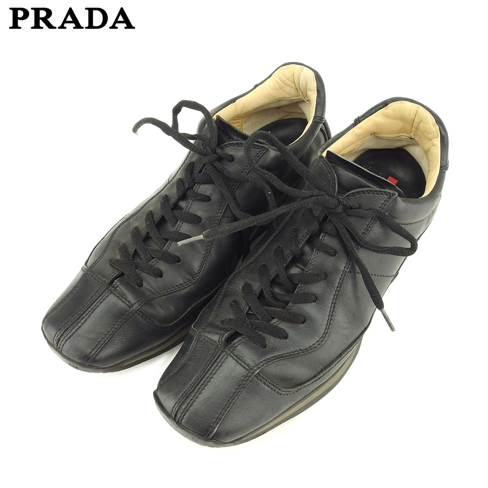 ec774da10 Prada PRADA sneakers shoes shoes men black leather popularity sale P837 ...