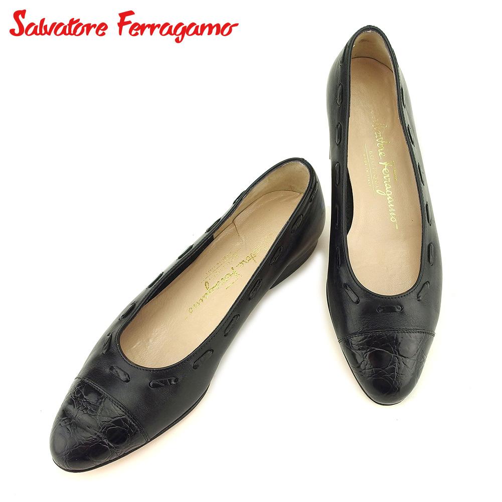 【中古】 サルヴァトーレ フェラガモ Salvatore Ferragamo パンプス シューズ 靴 レディース #5 ブラック キャンバス×レザー P838