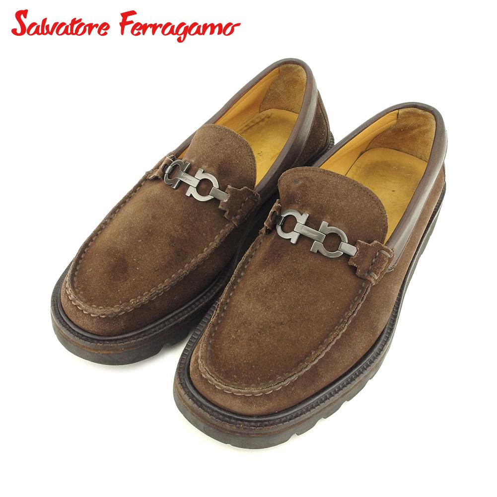【中古】 サルヴァトーレ フェラガモ Salvatore Ferragamo シューズ シューズ 靴 メンズ #9 ブラウン スエード P843