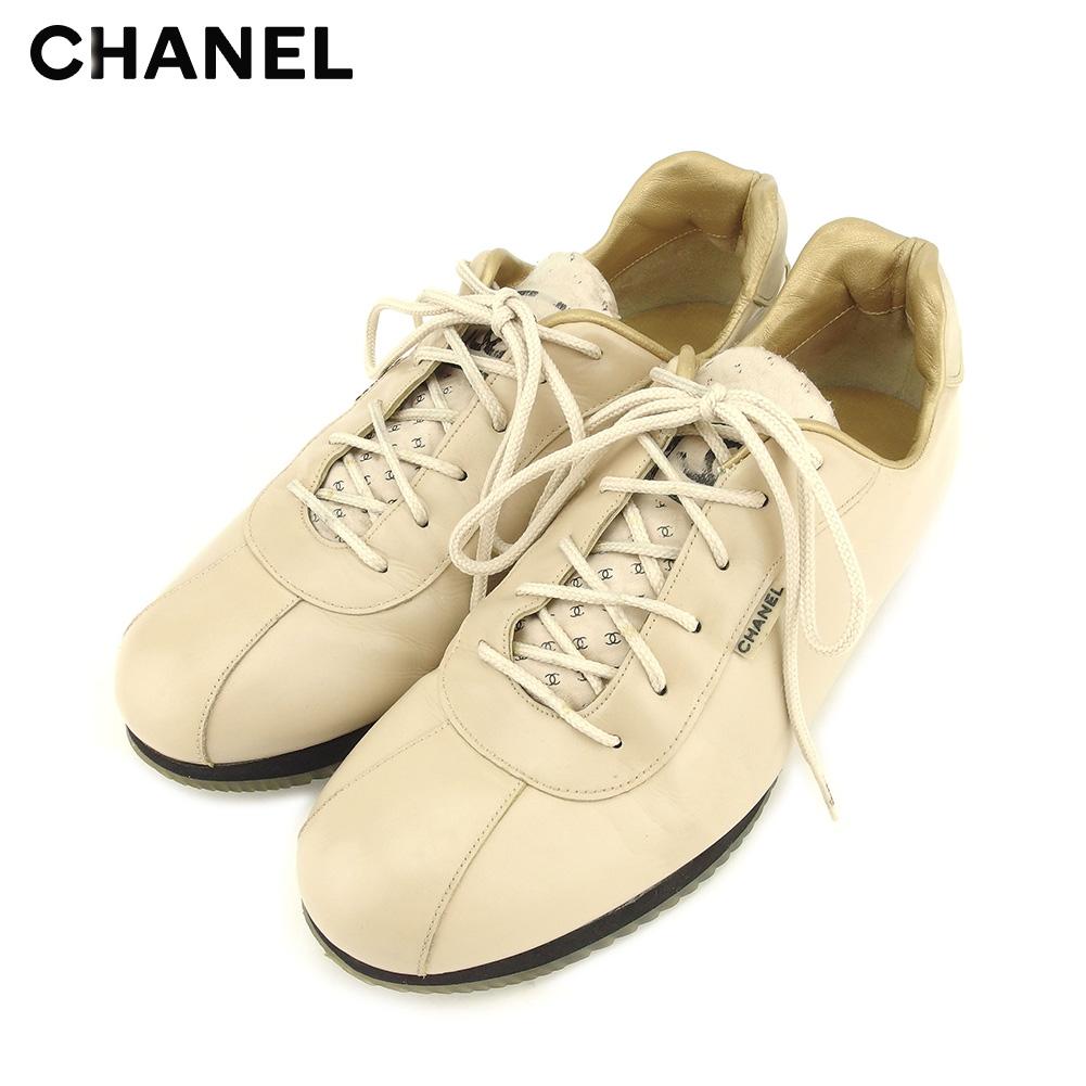 【中古】 シャネル CHANEL スニーカー シューズ 靴 レディース #36 ベージュ レザー T9064