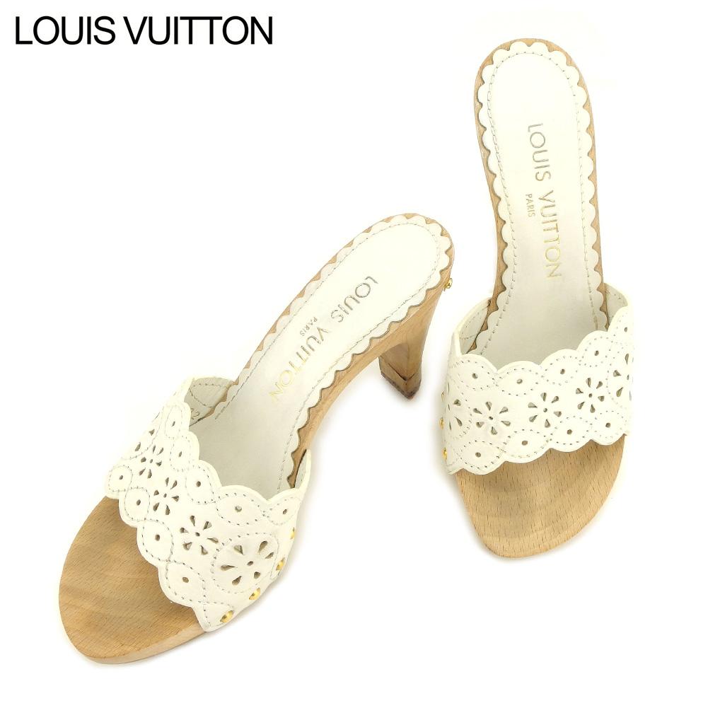 【中古】 ルイ ヴィトン Louis Vuitton サンダル シューズ 靴 レディース #34 ホワイト 白 レザー T9070