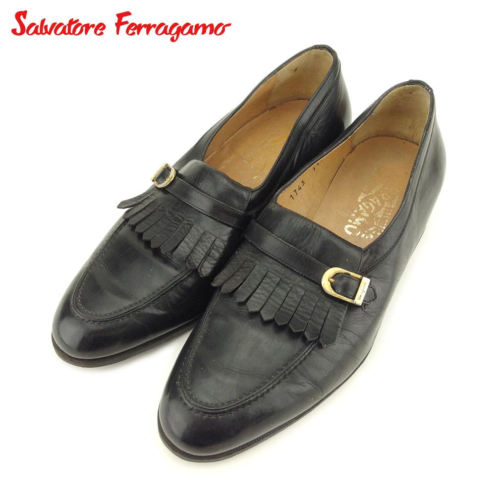 【中古】 サルヴァトーレ フェラガモ Salvatore Ferragamo ローファー シューズ 靴 メンズ #7 ブラック レザー T9080