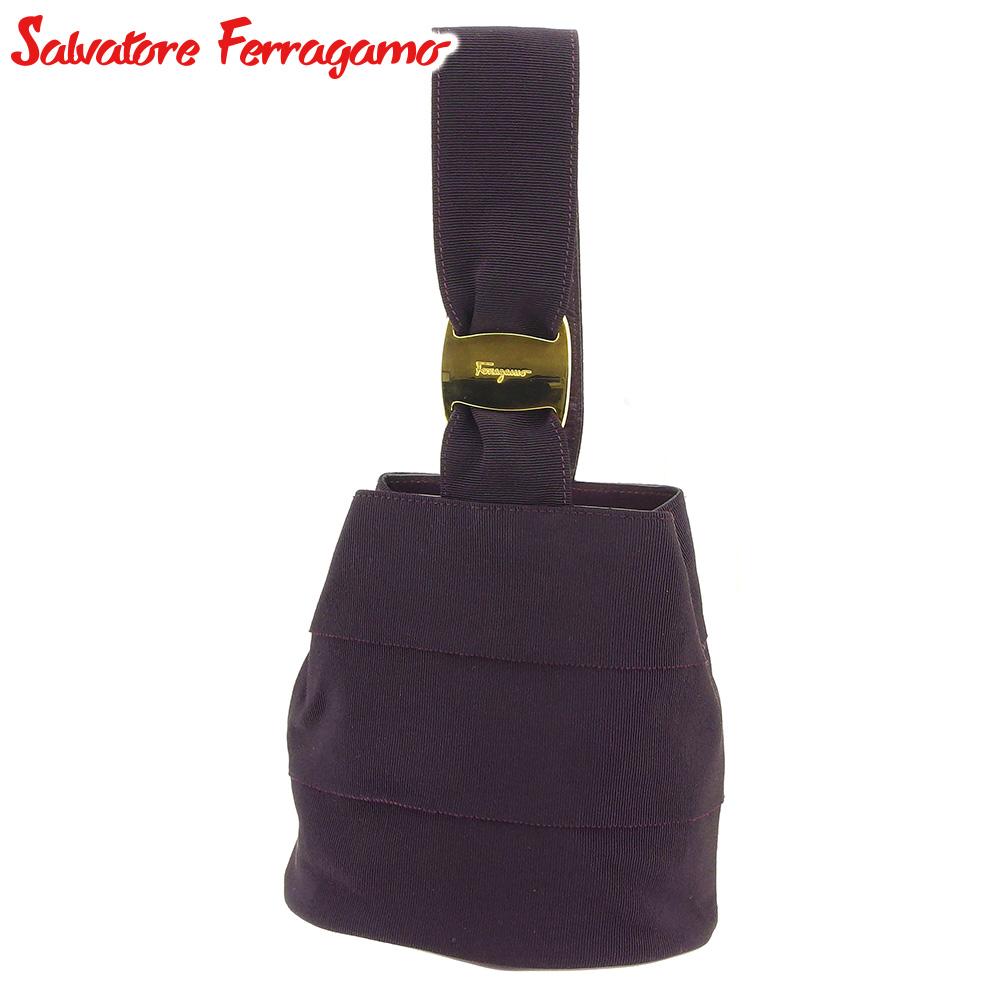【中古】 サルヴァトーレ フェラガモ Salvatore Ferragamo ハンドバッグ バッグ レディース ヴァラ金具 パープル キャンバス 人気 セール T9085