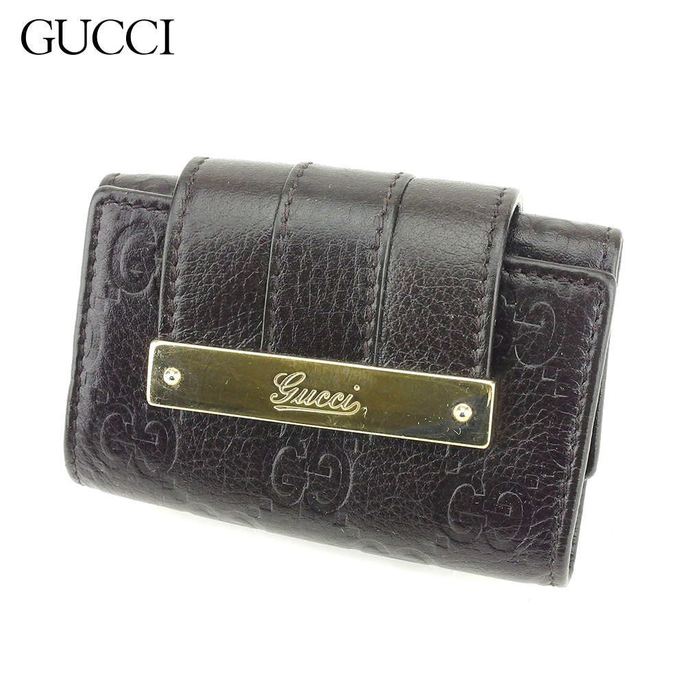 【中古】 グッチ Gucci キーケース 6連キーケース レディース メンズ グッチシマ ブラック レザー 人気 セール G1322