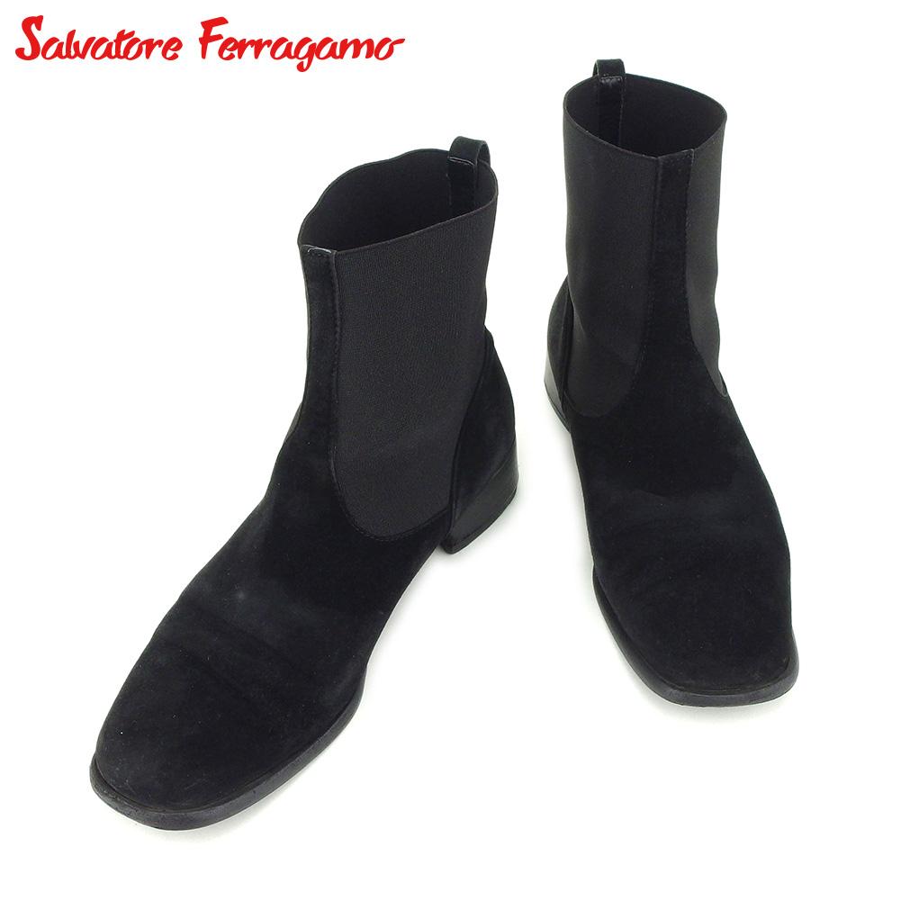 【中古】 サルヴァトーレ フェラガモ Salvatore Ferragamo ブーツ シューズ 靴 レディース #5 ブラック スエード×ゴア G1335