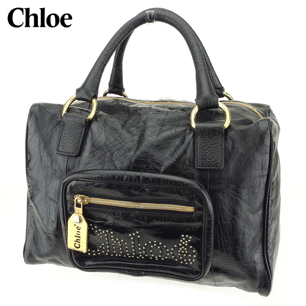 【中古】 クロエ Chloe ハンドバッグ ミニボストンバッグ レディース スタッズ ブラック フェイクレザー 人気 セール G1342