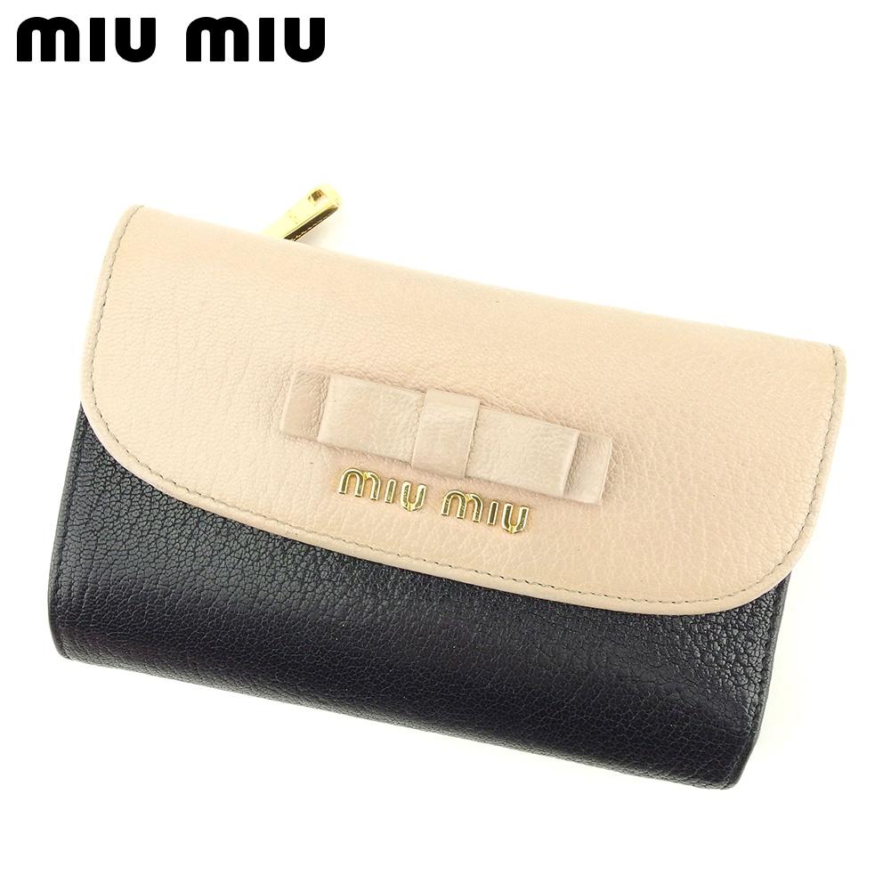 【中古】 ミュウミュウ miumiu 三つ折り 財布 L字ファスナー レディース リボンモチーフ ベージュ ブラック レザー 人気 セール G1347