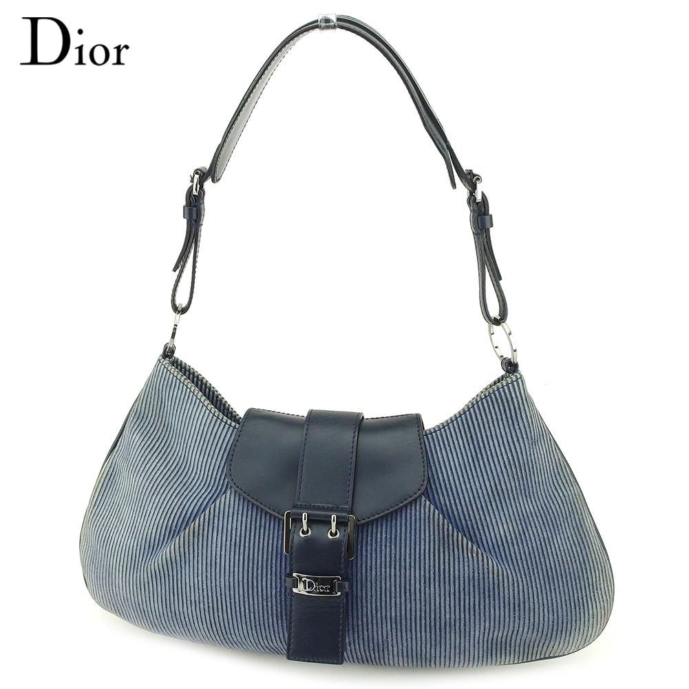 【中古】 ディオール Dior ショルダーバッグ ワンショルダー レディース コーデュロイ ブルー スエード×レザー 人気 セール G1352