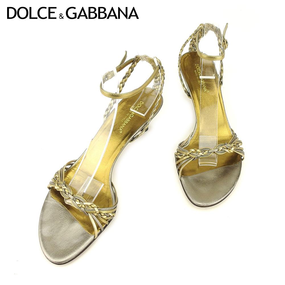 【中古】 ドルチェ&ガッバーナ DOLCE&GABBANA サンダル シューズ 靴 レディース #37 ゴールド レザー G1357