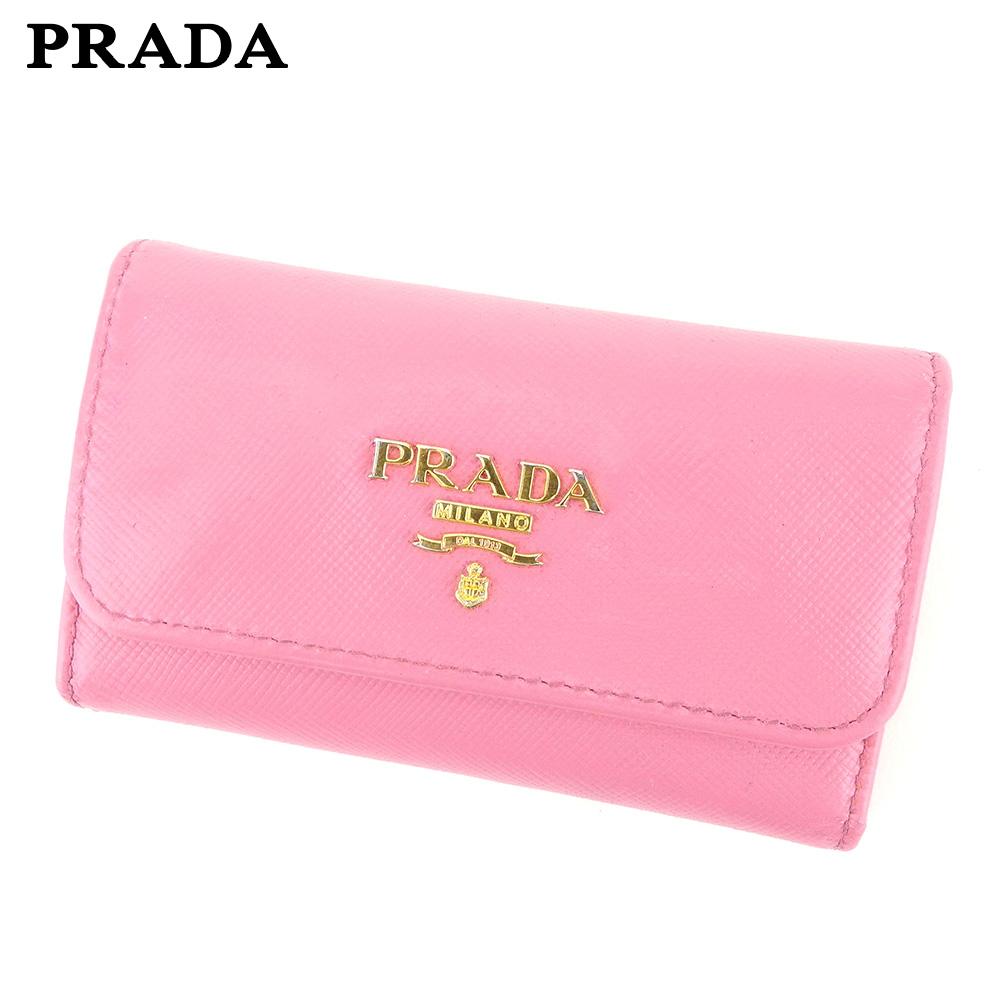 【中古】 プラダ PRADA キーケース 6連キーケース レディース  ピンク レザー 人気 セール G1363