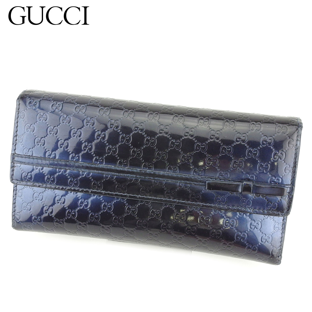 108c138f047 Long wallet Lady s Gucci sima navy enamel leather popularity sale G1370  with the Gucci Gucci long wallet fastener