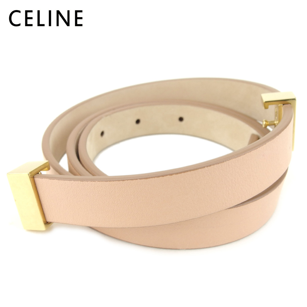 【スーパーSALE】 【20%オフ】 【中古】 セリーヌ Celine ベルト レディース ピンク ベージュ レザー G1371