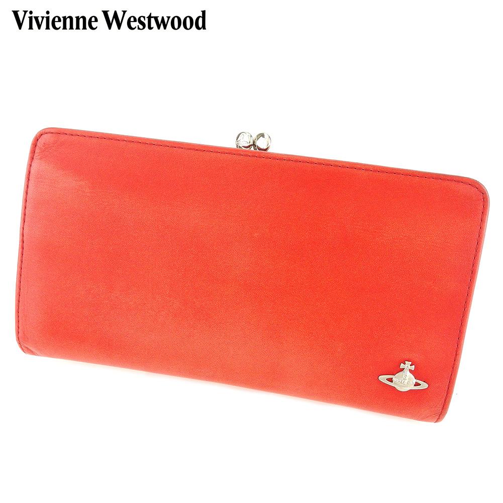 【中古】 ヴィヴィアン ウエストウッド Vivienne Westwood がま口 財布 長財布 レディース メンズ オーブ レッド レザー 人気 セール G1372