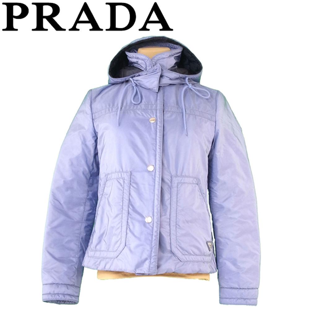 【中古】 プラダ PRADA ジャケット フード付き アウター レディース ♯38サイズ シングルボタン 中綿 ブルー シルバー ナイロン ポリエステル 美品 セール R1297