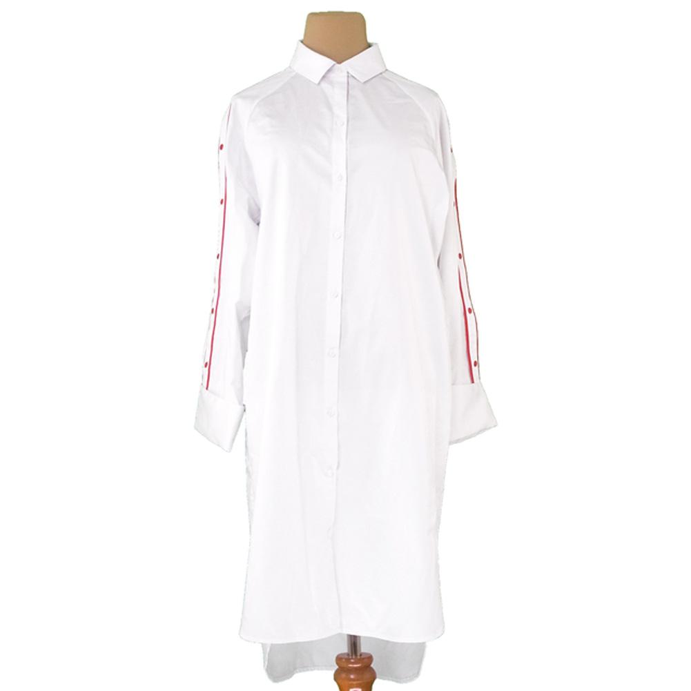 【中古】 ジャスパル JASPAL ワンピース ロング レディース ♯Sサイズ シャツワンピ ホワイト 白 レッド コットン 未使用 R1303