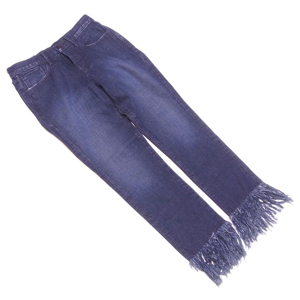 【中古】 スリーバイワン 3×1 ジーンズ 裾フリンジ パンツ レディース ♯25サイズ デニム ネイビー コットン 綿 未使用品 セール R1315