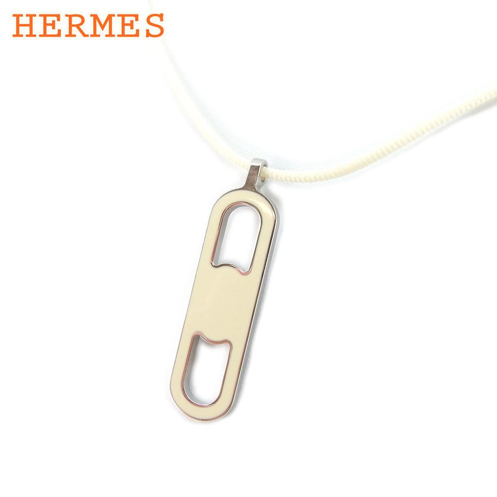 【中古】 エルメス HERMES ネックレス アクセサリー レディース  ベージュ シルバー シルバー 未使用品 セール T9176