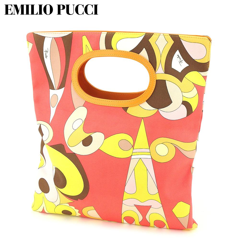 【中古】 エミリオ プッチ EMILIO PUCCI トートバッグ クラッチバッグ レディース プッチ(柄) オレンジ ブラウン キャンバス 未使用品 T9178