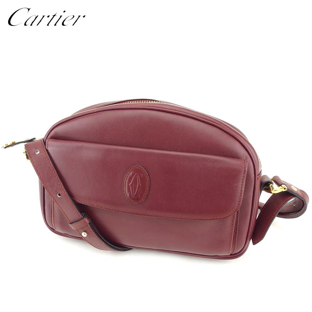 【中古】 カルティエ Cartier ショルダーバッグ 斜めがけショルダー レディース マストライン ボルドー レザー 人気 良品 T9186