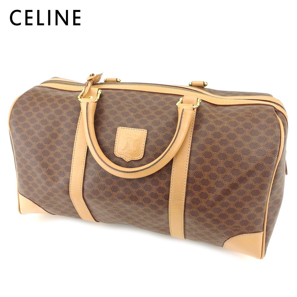 766eb753a0db 【中古】 セリーヌ Celine ボストンバッグ 旅行用バッグ レディース メンズ マカダム ブラウン PVC×
