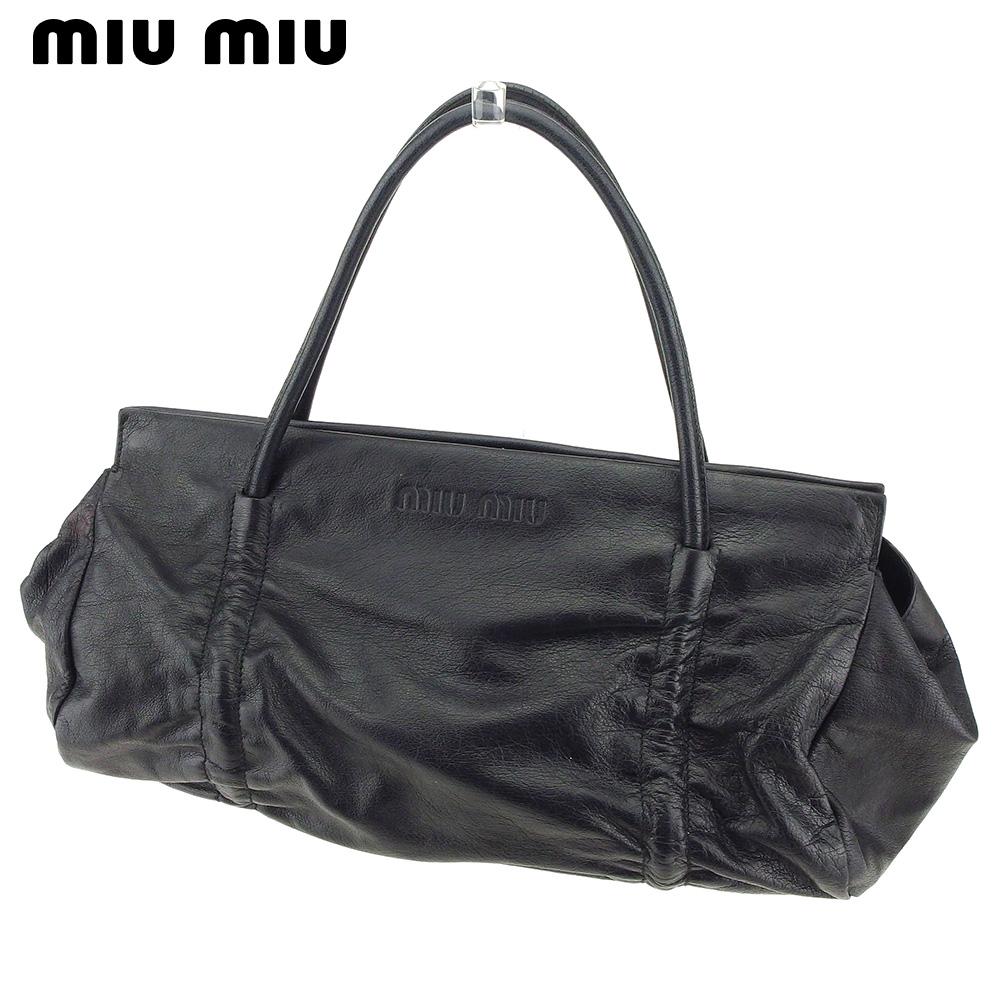 【中古】 ミュウミュウ miumiu ハンドバッグ バッグ レディース ロゴ ブラック レザー 人気 良品 T9206