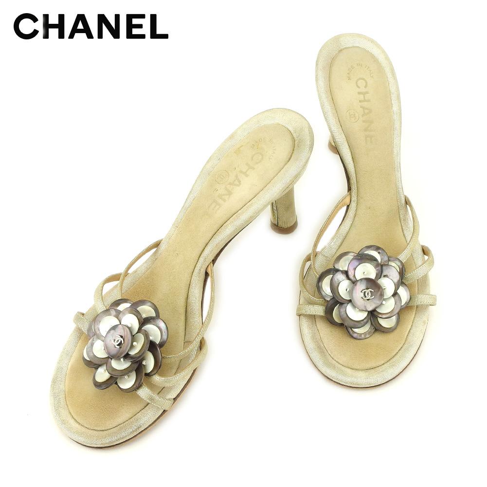 【中古】 シャネル CHANEL サンダル シューズ 靴 レディース #37ハーフ ベージュ ゴールド スエード×キャンバス T9225