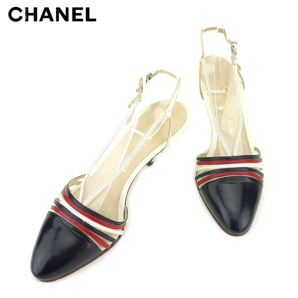 【中古】 シャネル CHANEL サンダル シューズ 靴 レディース ホワイト 白 ネイビー レッド レザー T9240