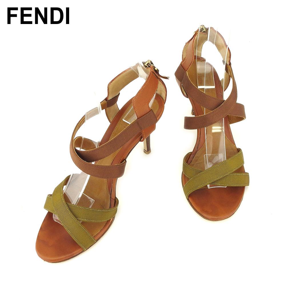 【中古】 フェンディ FENDI サンダル シューズ 靴 レディース #36ハーフ ブラウン レザー T9245