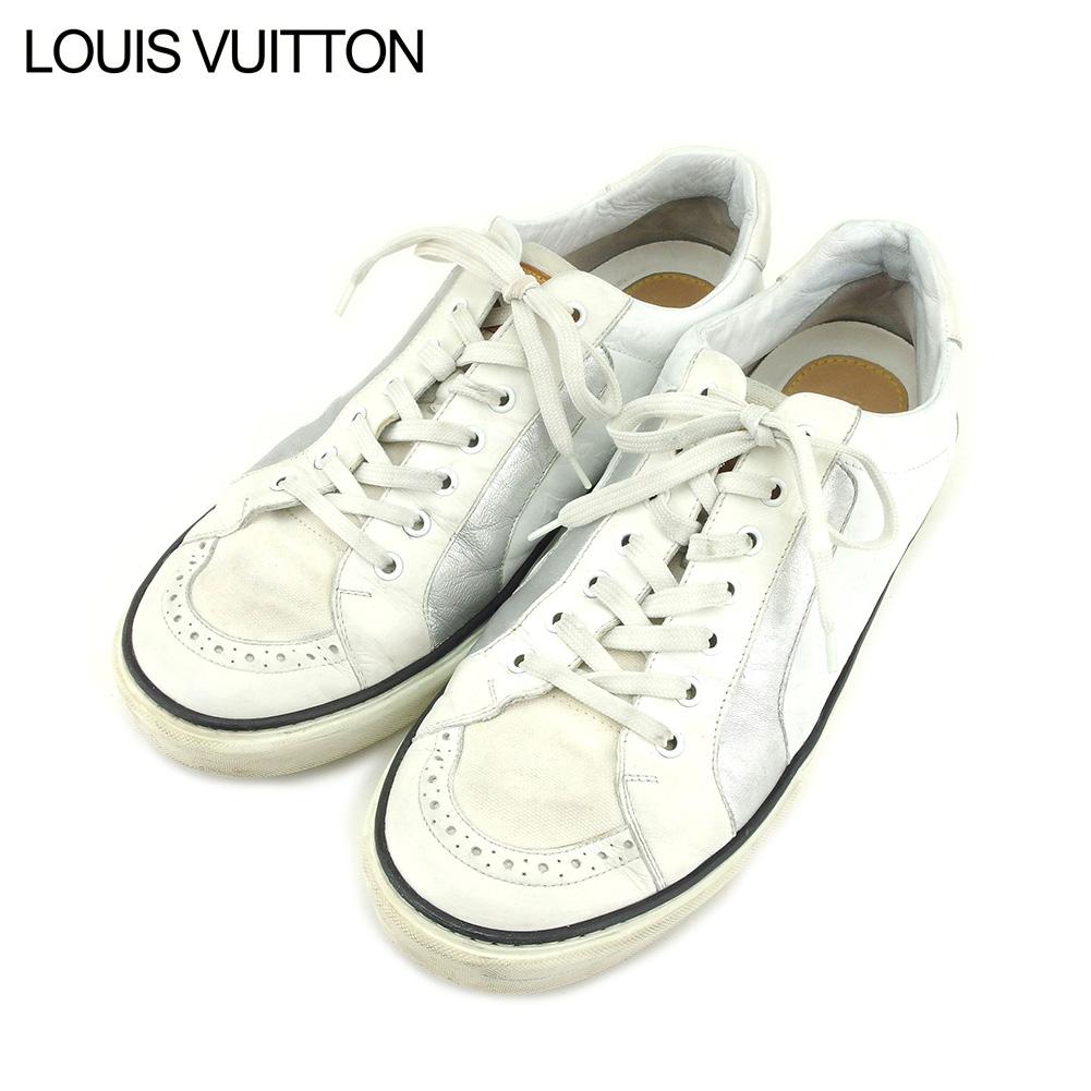 【中古】 ルイ ヴィトン Louis Vuitton スニーカー シューズ 靴 メンズ ホワイト 白 シルバー レザー T9248