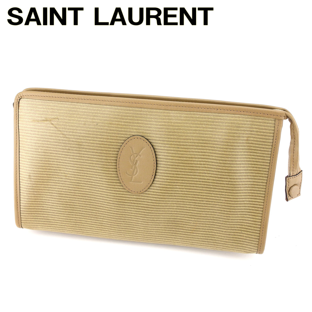83b4384a7f Yves Saint-Laurent YVES SAINT LAURENT second bag clutch bag men s possible  logo motif horizontal stripe beige system X gold PVC X leather  (correspondence) ...