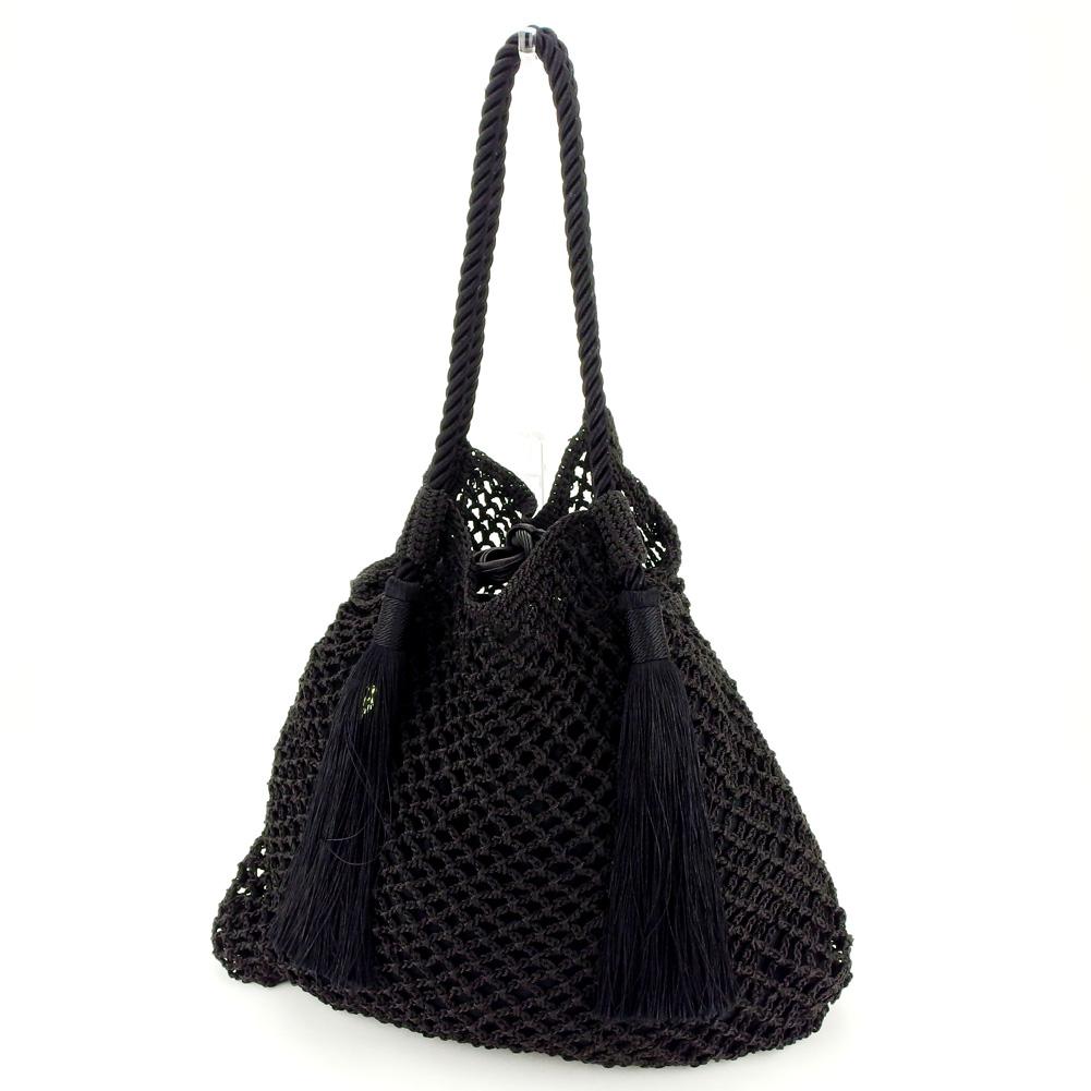 11f22d7cb61 Quite common ZARA tote bag drawstring purse shoulder Lady's fringe black  popularity quality goods A1844.