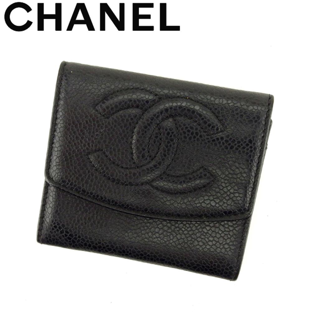 【中古】 シャネル CHANEL コインケース 小銭入れ レディース メンズ オールドシャネル ブラック キャビアスキン B1007