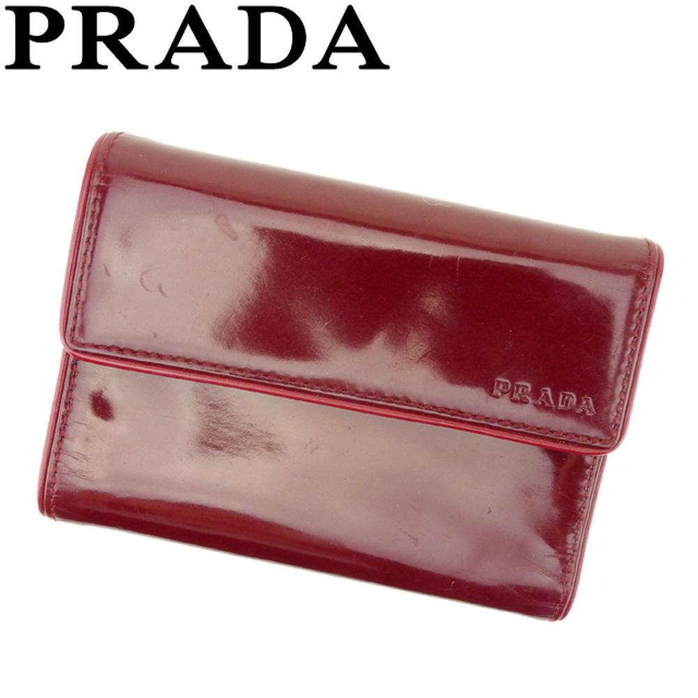 【中古】 プラダ PRADA 三つ折り 財布 ボルドー レディース メンズ ユニセックス レザークリスマス プレゼント サイフ 小物 ブランド 人気 贈り物 財布 収納 在庫一掃 迅速発送 在庫処分 男性 女性 良品 1点物 F1432 .