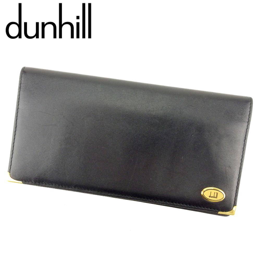 【中古】 ダンヒル dunhill 長札入れ 札入れ メンズ オックスフォード ブラック ゴールド レザー 人気 セール F1434