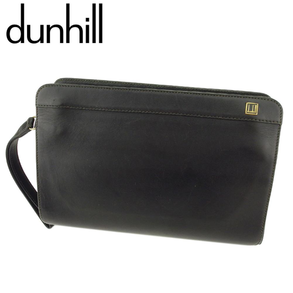 【中古】 ダンヒル dunhill クラッチバッグ セカンドバッグ メンズ ロゴプレート ブラック ゴールド レザー 人気 セール F1439