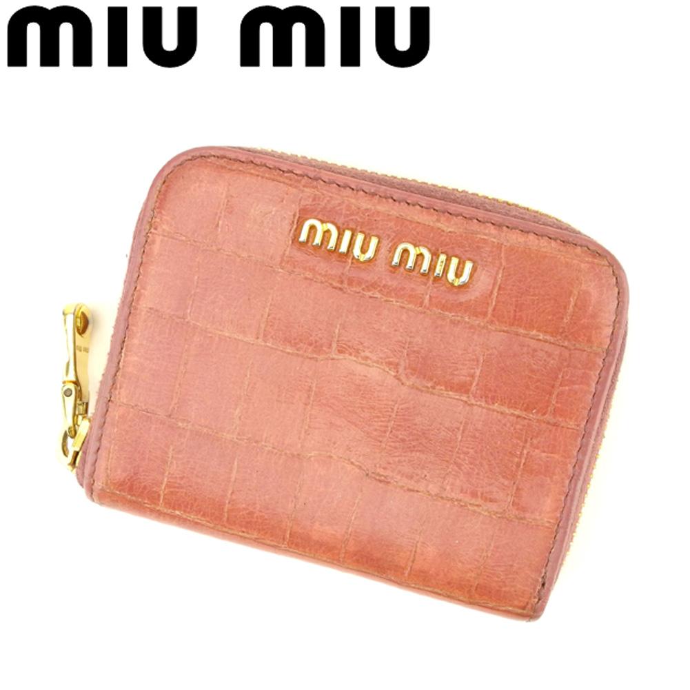 【中古】 ミュウミュウ miu miu コインケース 小銭入れ レディース クロコ調 ピンク ゴールド 型押しレザー 人気 良品 F1465