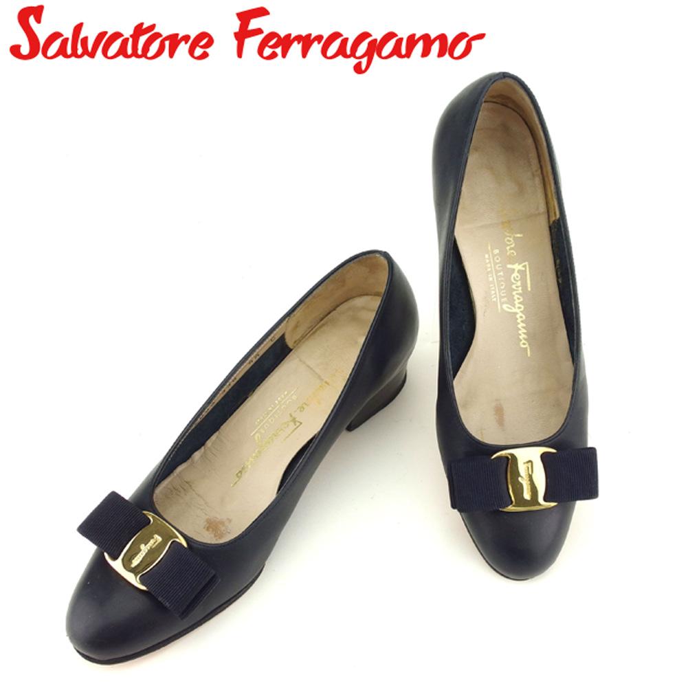 【中古】 サルヴァトーレ フェラガモ Salvatore Ferragamo パンプス シューズ 靴 レディース ♯4ハーフC ラウンドトゥ ネイビー ゴールド レザー F1487