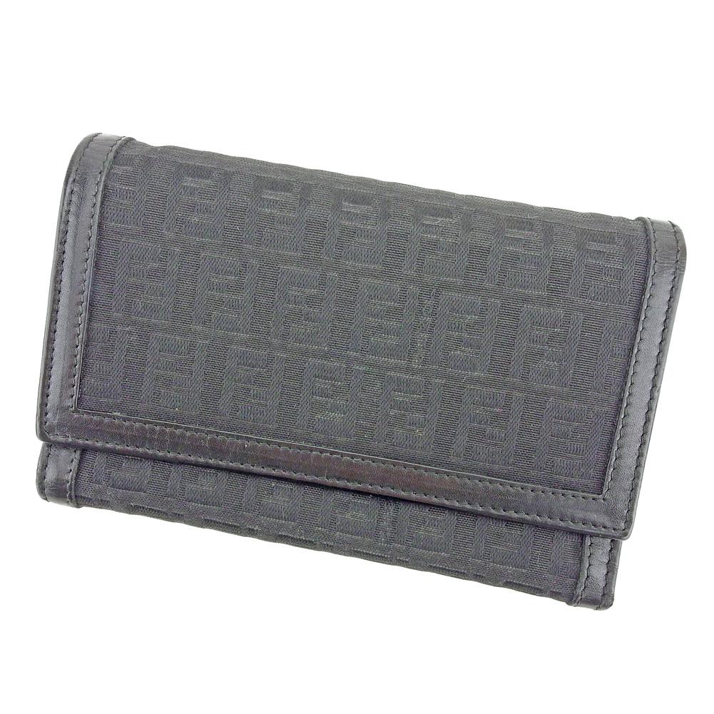 【中古】 フェンディ FENDI 三つ折り 財布 レディース メンズ ズッキーノ ブラック キャンバス×レザー 人気 セール L2603