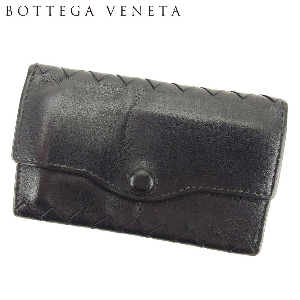【中古】 ボッテガ ヴェネタ BOTTEGA VENETA キーケース 6連キーケース レディース メンズ イントレチャート ブラック レザー 人気 セール L2645 .