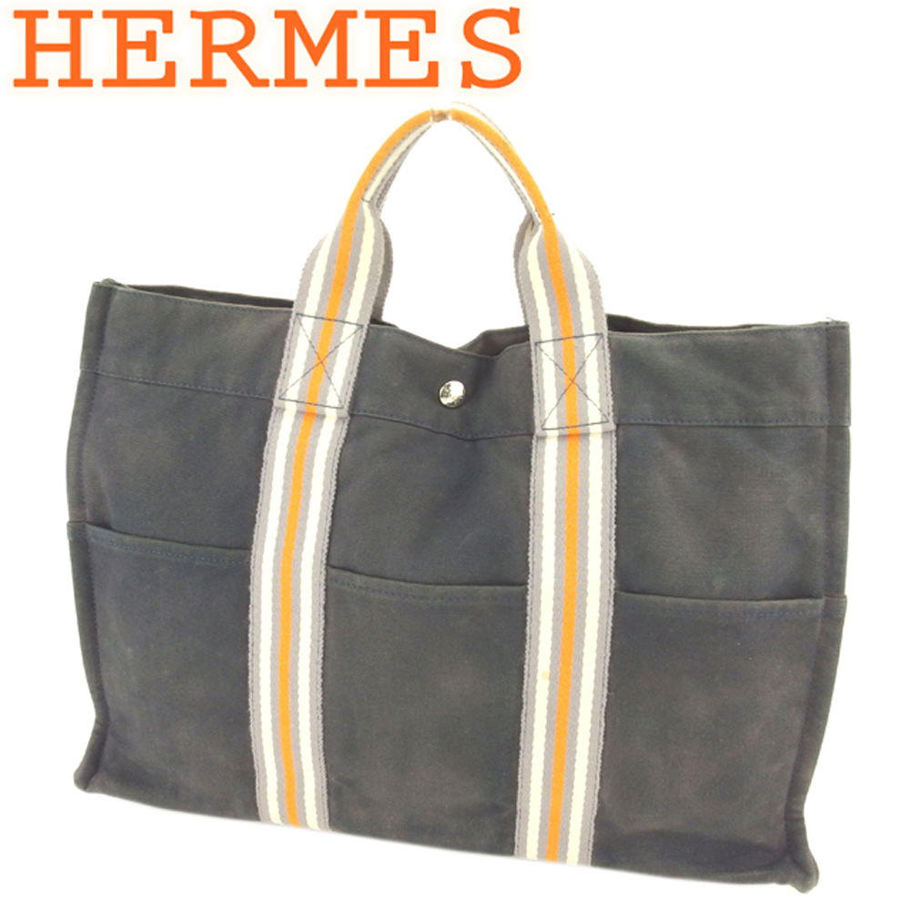 【中古】 エルメス HERMES トートバッグ ハンドバッグ メンズ可 フールトゥトートMM フールトゥ グレー 灰色 オレンジ ベージュ 綿100% 人気 セール L2704