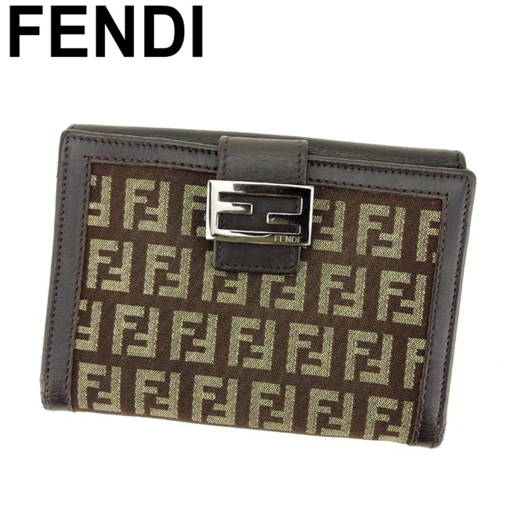 【中古】 フェンディ FENDI Wホック 財布 二つ折り 財布 レディース メンズ ズッキーノ ブラウン キャンバス×レザー 人気 セール L2714
