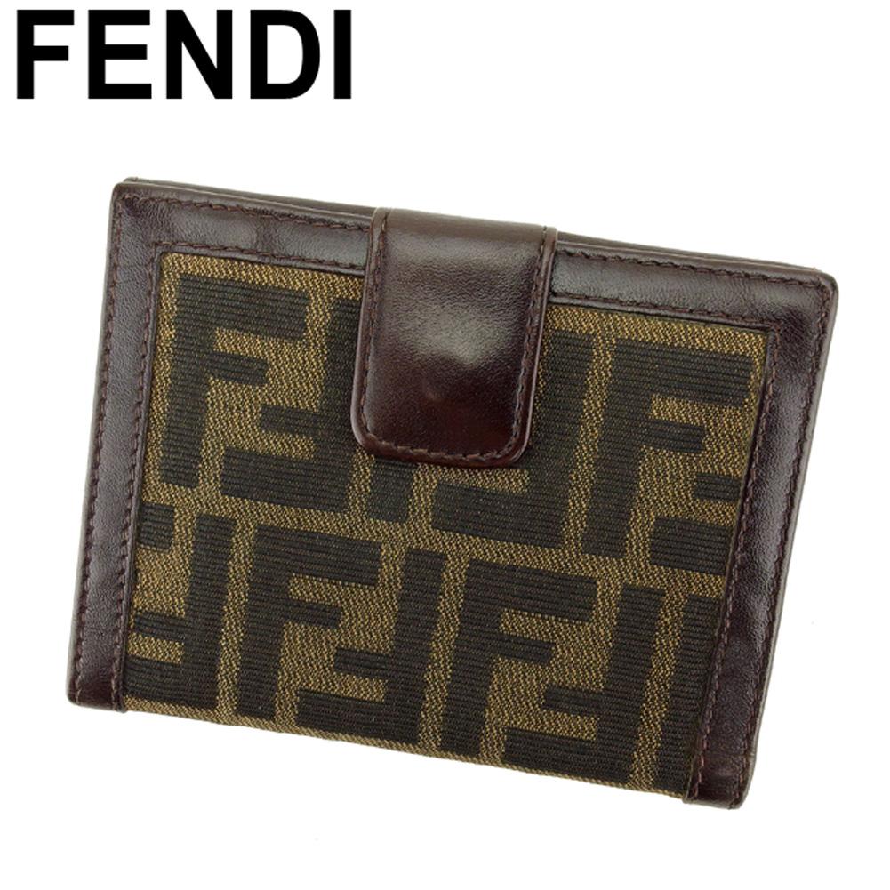 【中古】 フェンディ FENDI Wホック 財布 二つ折り 財布 メンズ可 ズッカ ブラウン ベージュ キャンバス×レザー 人気 良品 L2715