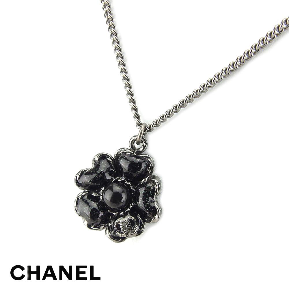 秋 ネックレス アクセサリー シャネル CHANEL necklace スーパーセール 贈り物 20%オフ . シルバー ブラック レディース 中古 L2718 シルバー金具 本物