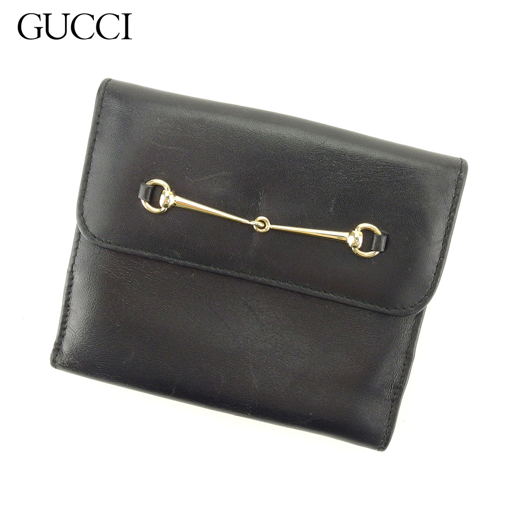 15ce0d1a8f65 【中古】 グッチ GUCCI Wホック 財布 二つ折り 財布 レディース メンズ ホースビット ブラック