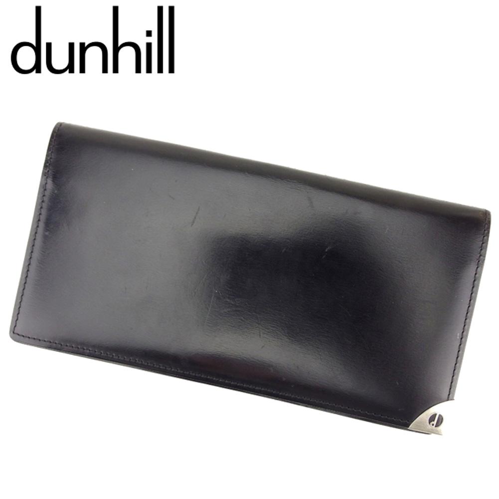 【中古】 ダンヒル dunhill 長札入れ 札入れ メンズ ブラック シルバー レザー Q558 .