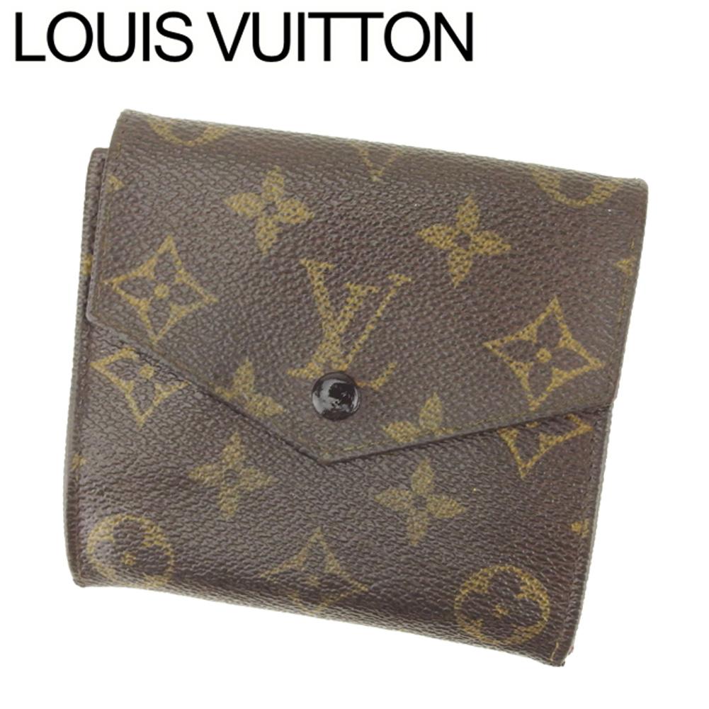 【中古】 ルイ ヴィトン Louis Vuitton Wホック 財布 二つ折り レディース メンズ ポルトモネビエ(旧タイプ) モノグラム ブラウン ベージュ モノグラムキャンバス 廃盤 訳あり Q559